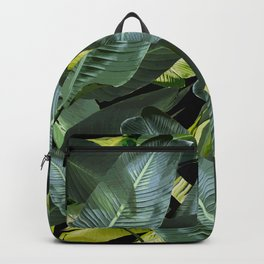 Topical palm leaf, banana leaf, black background, greens, Beach Hawaii decor Backpack