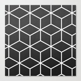 Charcoal and White - Geometric Textured Cube Design Canvas Print