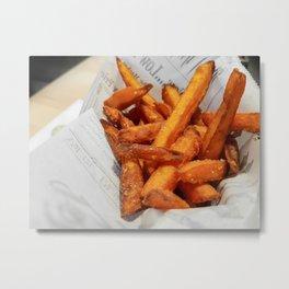 Sweet Potato French Fries on Paper Wrap Metal Print