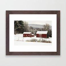 The Red Barn in Winter Framed Art Print