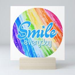 Smile Everyday, Happy sticker, Cute sticker, crayon colors, blue version Mini Art Print
