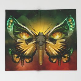 """Dark butterflies flying over a sky of fire"" Throw Blanket"