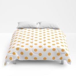 Small Polka Dots - Pastel Orange on White Comforters