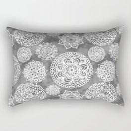 Soft Grey Mandala Pattern Rectangular Pillow