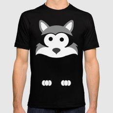 Minimal Raccoon Mens Fitted Tee MEDIUM Black