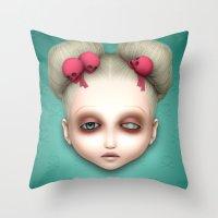 misfits Throw Pillows featuring Misfits - Hildi by Raymond Sepulveda
