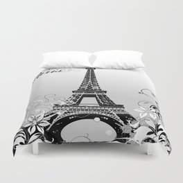 Eiffel Tower Paris (B/W) Duvet Cover