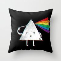 dark side of the moon Throw Pillows featuring dark side of the moon by Iotara