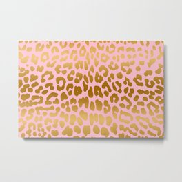Leopard (Pink & Gold) Metal Print
