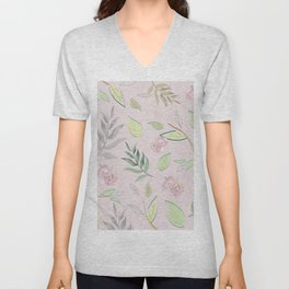 Simple and stylized flowers 4 Unisex V-Neck