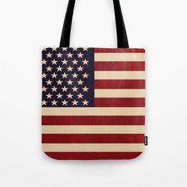 American Flag Vintage Americana Red Navy Blue Beige Tote Bag