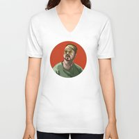 pomeranian V-neck T-shirts featuring Take the Pomeranian Bowling by Chris Jalufka