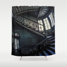Twisted blue and gray staircase Shower Curtain