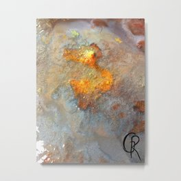 Crater Original Mixed Media Abstract Artwork, Contemporary And Abstract Artist Design, Close Up Metal Print