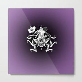 The Skull the Flowers and the Snail Metal Print