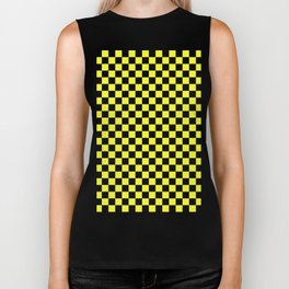 Black and Electric Yellow Checkerboard Biker Tank
