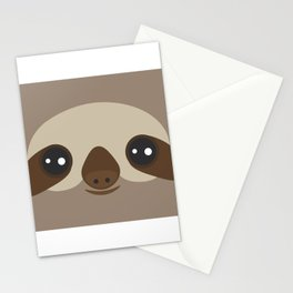 funny and cute smiling Three-toed sloth on brown background Stationery Cards