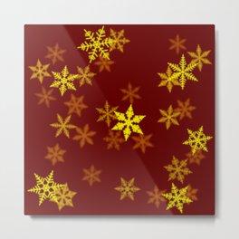 Yellow Snowflake Metal Print