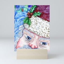 Santa and the Northern Lights Mini Art Print
