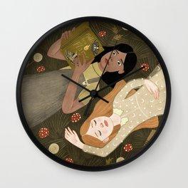 girls in grass Wall Clock