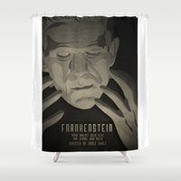 frankenstein Shower Curtains featuring Frankenstein by James Northcote