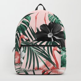 Tropical Flamingo Flower Jungle #4 #tropical #decor #art #society6 Backpack