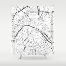 Paris France Minimal Street Map - Gray and White Shower Curtain