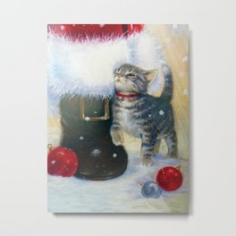Kitten at Santa's Boot Metal Print
