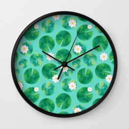 Lily Pads & White Water Lily Flowers Wall Clock