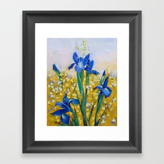 Iris and Forsythia Framed Art Print