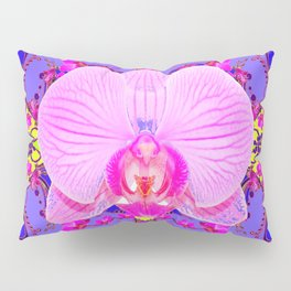 Purple Orchids Pattern Fantasy peacock eyes Art Pattern Art Design Pillow Sham