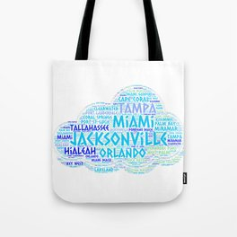 Cloud illustrated with cities of Florida State USA Tote Bag