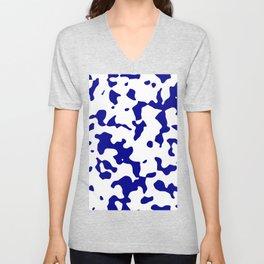 Large Spots - White and Dark Blue Unisex V-Neck