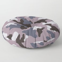 Gray army camo camouflage pattern Floor Pillow