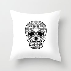Mexican Skull - White Edition Throw Pillow