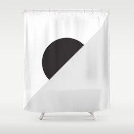 Circle Horizon Black Shower Curtain