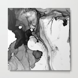 Soft Black Marble Metal Print