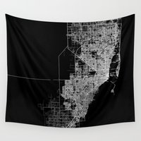 miami Wall Tapestries featuring Miami map by Line Line Lines