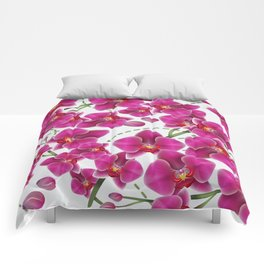 Fuchsia Pink Moth Orchids Comforters