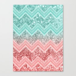 Summer Vibes Glitter Chevron #1 #coral #mint #shiny #decor #art #society6 Canvas Print