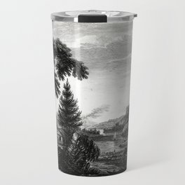 A design to represent the beginning and completion of an American settlement or farm Travel Mug