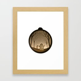 Penguin playing in the snow, Christmas Bauble Paper Cut Framed Art Print
