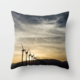 Wind Turbines Landscape Throw Pillow