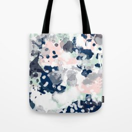 Melia - abstract minimal painting acrylic watercolor nursery mint navy pink Tote Bag