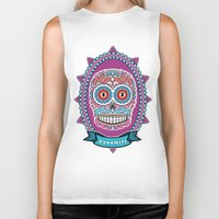 mexican Biker Tanks featuring Mexican Skull by Xonomitl
