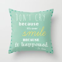 dr seuss Throw Pillows featuring Dr. Seuss Quote by Michelle Krasny