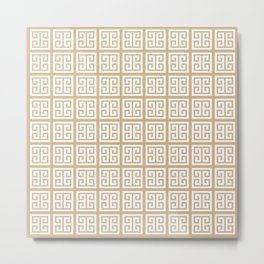 Tan Brown Greek Key Pattern Metal Print