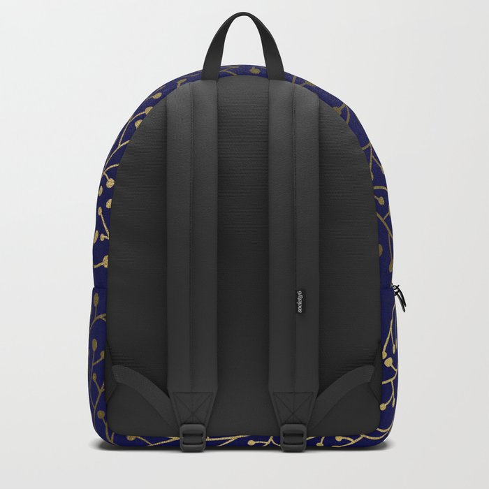 Gold Berry Branches on Navy Backpack