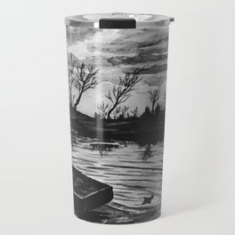 Watercolor Sunset Black and White Travel Mug