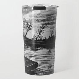 Watercolor Sunset Black and White Travel Mug